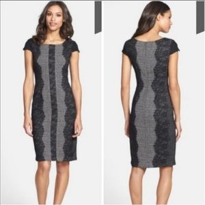 Betsey Johnson tweed lace trim dress